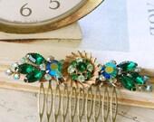 Green elegance. vintage rhinestone collage hair comb. tiedupmemories