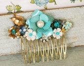 Blue floral bouquet. shabby chic collage hair comb. Tiedupmemories