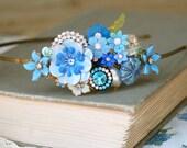 Blue flower garden.floral collage headband. Tiedupmemories