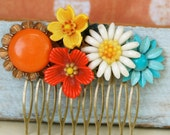 Summer Lovin... colorful vintage flower collage hair comb. Tiedupmemories