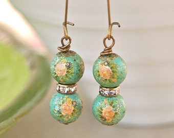 Shabby chic vintage beaded yellow rose rhinestone earrings. Tiedupmemories