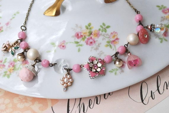 All she wanted pink jewel necklace