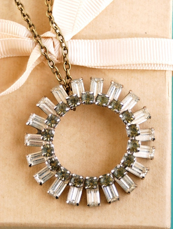 Eternity.vintage rhinestone circle assemblage long necklace. Tiedupmemories