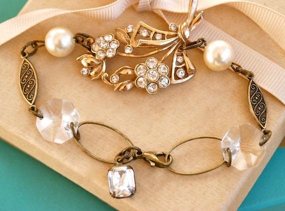 Rhinestone flower bouquet. crystal and pearl vintage beaded bracelet.tiedupmemories