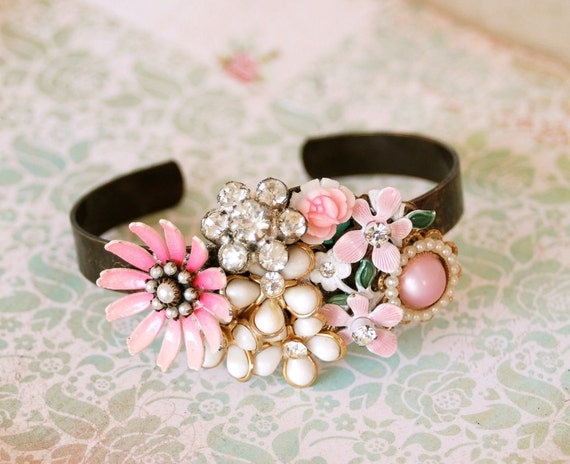 Romantic floral statement collage cuff.Tiedupmemories