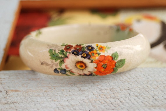 Ceramic porcelain floral bangle bracelet. Tiedupmemories