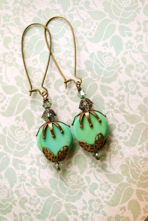 Bohemian green antique brass crystal beaded earrings. tiedupmemories