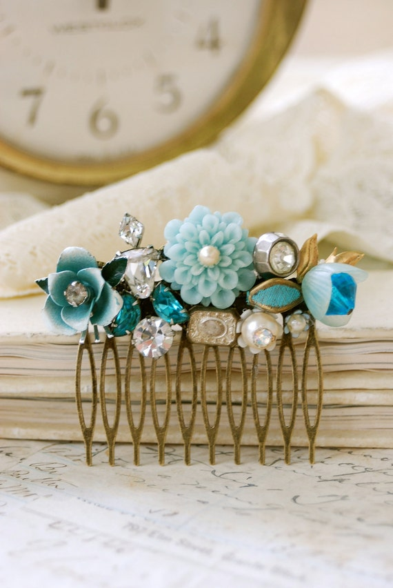 Something blue. floral wedding collage shabby chic hair comb. Tiedupmemories