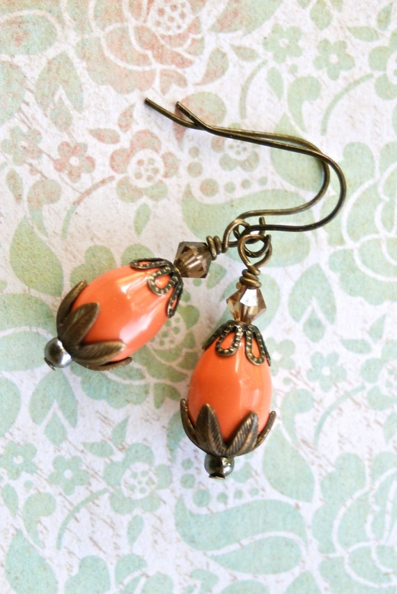 Pumpkin orange. crystal beaded  earrings. Tiedupmemories