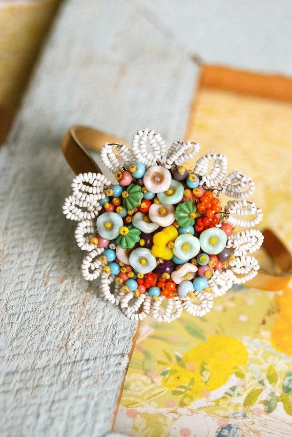 Bohemian beaded flower cuff. Tiedupmemories