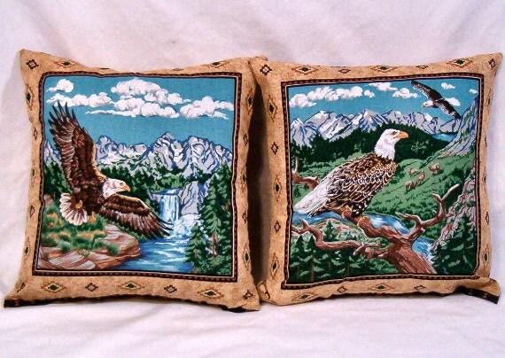 Pair of Eagle Wildlife Pattern Throw Pillows