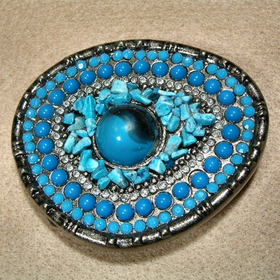 Vintage Handcrafted Lapis, Turquoise and Rhinestone Buckle