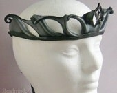 Sculpted Leather Crown in Pewter and Black with Sterling and Gemstone Accents