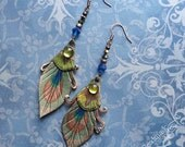 Peacock Eye Leather Earrings With Real Feathers, Swarovski And Vintage Glass Stone In Olive Greenss Accents