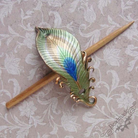 Leather Peacock Feather Barrette Hair Stick or Hair Slide with Poplar Stick