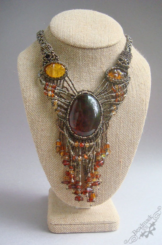 Reserved for Goddess -- Edwardian Style Beadwoven Necklace with Elegant Baltic Amber