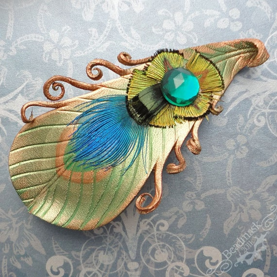 Peacock Feather Leather Barrette With Vintage Glass Stone