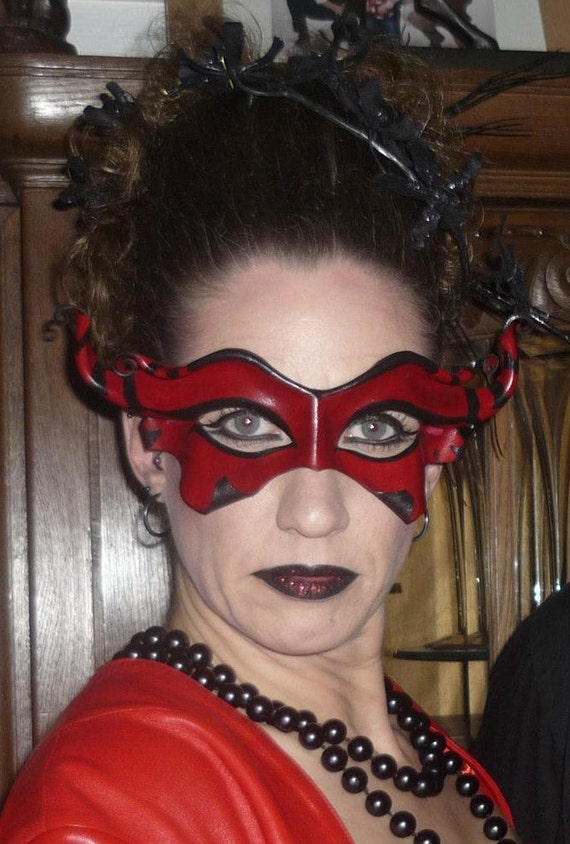 Devilish Imp Leather Mask  - Red And Black With Circus Stripes - Carnivale Masquerade Halloween Costume