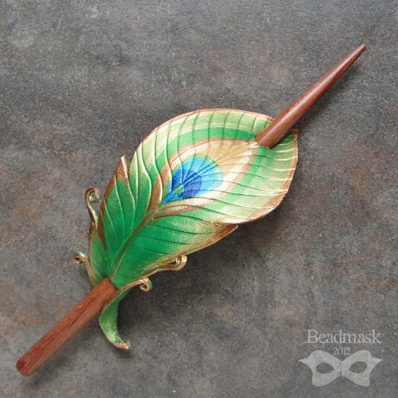 Peacock Feather Leather Hair Slide With Handcrafted Koa Wood Stick