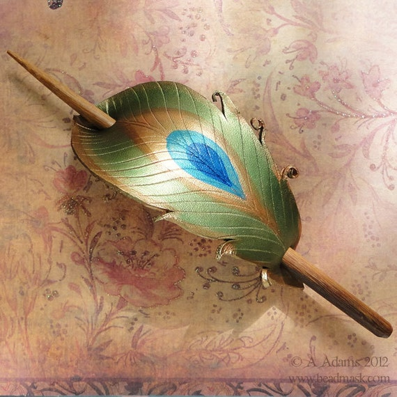 Leather Peacock Feather Barrette Or Hair Slide With Handcrafted Walnut Stick