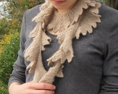 Seaweed Scarf, lace weight cashmere knits up beautifully in this easy spiral scarf pattern. PDF pattern