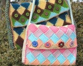 Entrelac Saddle Bag, knitted in cotton for the Spring. PDF knitting pattern