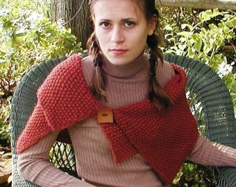 Knitted Shoulder Wrap, a rectangle in seed stitch with one large button. pdf knitting pattern