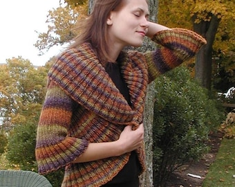 Hour Glass Cardigan, knitted sweater knit in one piece with added sleeves. PDF knitting pattern