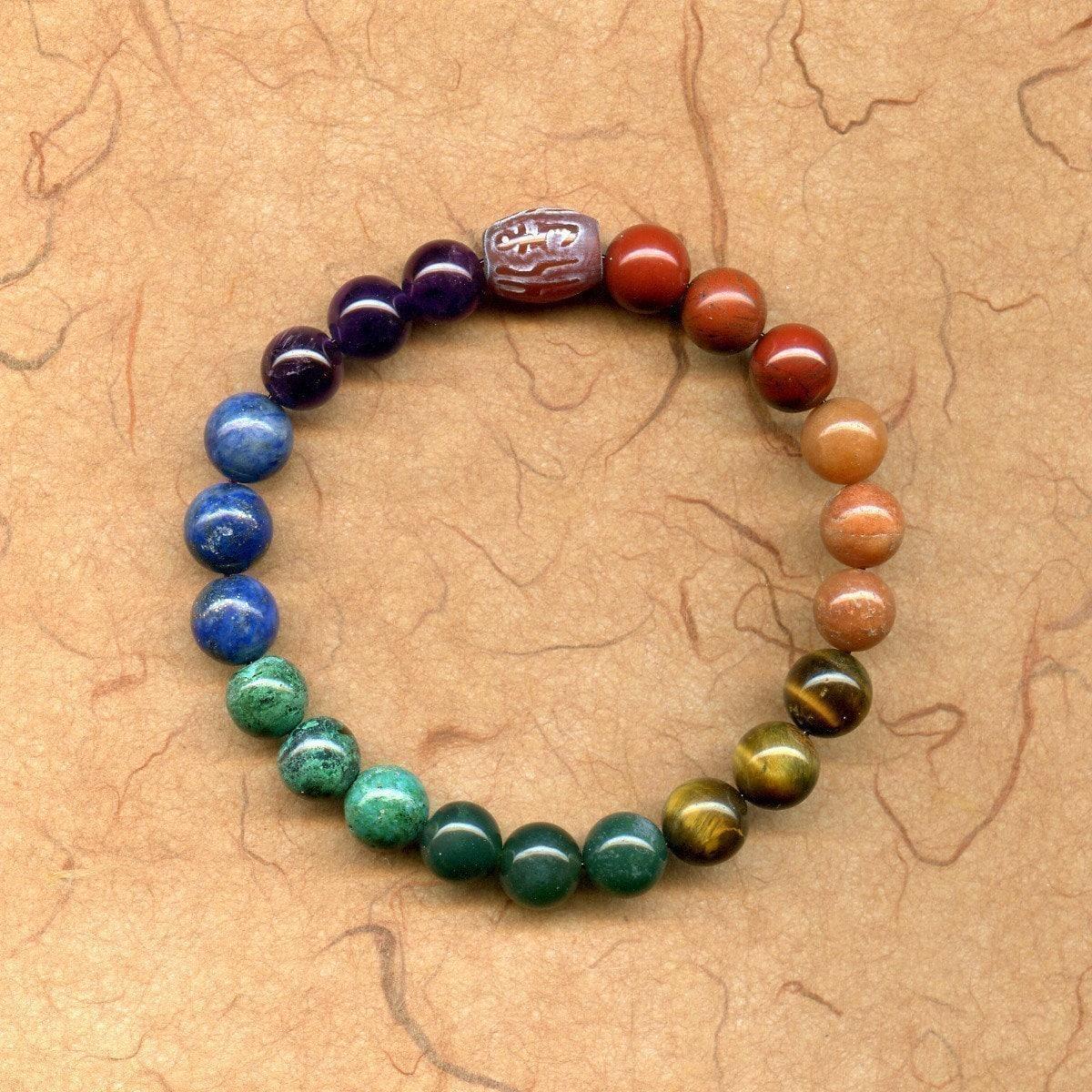 Yoga Beads: Heal 7 Chakra Meditation Bead Bracelet Mala With Mantra Bead