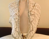 Lacy shawl wrap chunky knit white with shimmering highlights crocheted