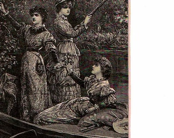 Victorian ladies punting by the banks of a river. Vintage print.