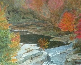 Yarker Waterfall mixed media original signed painting watercolor acrylic