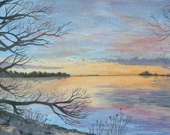 """Watercolor landscape painting original signed """"Spring Dawn"""" 9 by 13"""