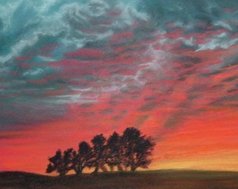 Canadian Sunset painting Autumn Reds. Original signed soft pastel by Lynn ACourt
