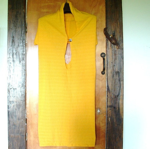 Halter dress two way cover up in small to medium size sunny yellow knit