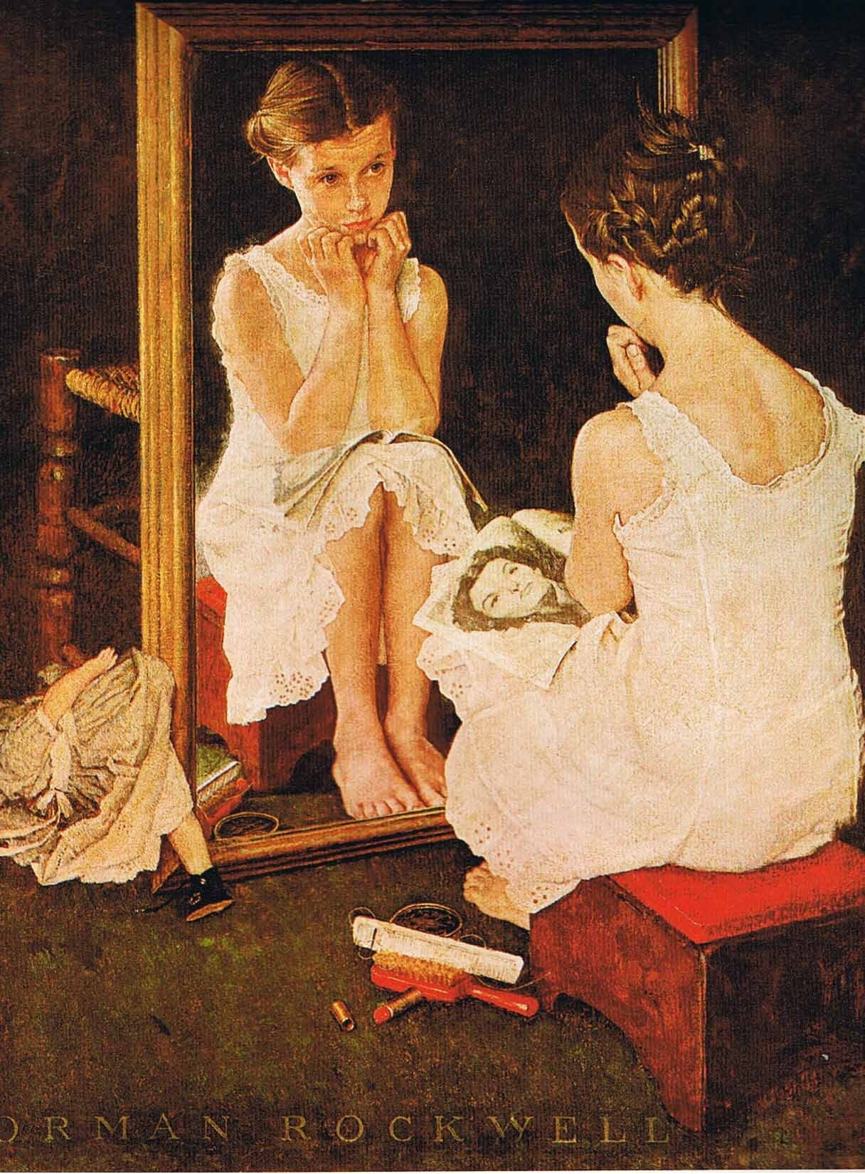 Vintage art print paper norman rockwell girl at the mirror for Le miroir dans la peinture