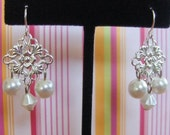 Tiny Chandelier Pearl Earrings