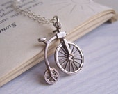 Penny Farthing bicycle necklace - sterling silver vintage charm - 1960s
