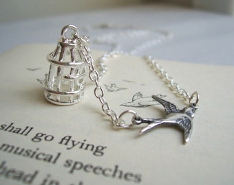 Silver Birdcage Charm necklace - Freedom - with petite bird - silver plated - petite