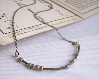 Luck Morse Code necklace - mixed metals - handmade