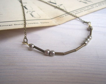 Love Morse Code necklace - mixed metals - personalised message