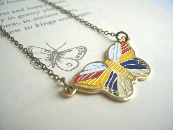 Flutterby colourful butterfly necklace - golden brass with candy stripes - handmade