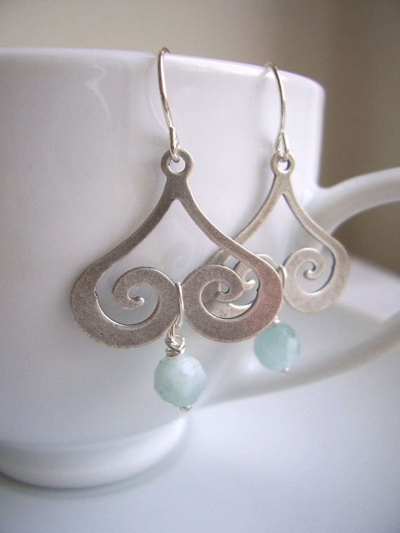 Silver Clouds earrings - blue amazonite and swirls - handmade