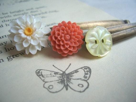Peach Blossom bobby pins - orange and yellow flower hair grips - handmade