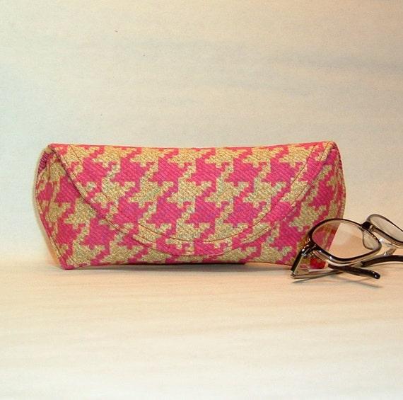 Eyeglass Case or Sunglass Case - Pink Herringbone