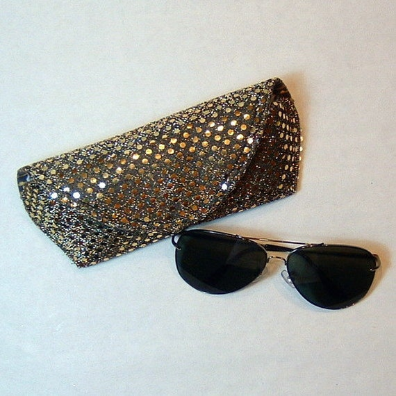 Eyeglass Case or Sunglass Case Large - Golden Pewter Bling