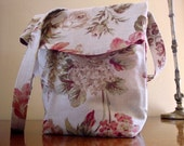 Reserved - SALE ----- Catherine Bag in Shabby Neutral and Red Floral Linen