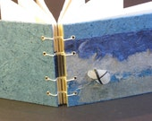 blue beach glass handbound blank book