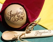 Baby Personalized Toy Wooden Ball and Spoon Gift Set - Christening, Birth gifts