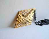Gold Geometric Diamond Necklace - Vintage Brass Triangles - Free Shipping in the US